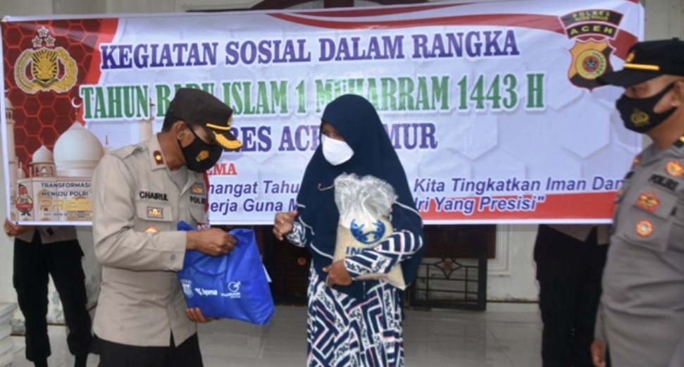Polres Aceh Timur Gelar Kegiatan Sosial Dalam Rangka Memperingati Tahun Baru Islam 1443 H